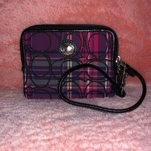 Coach Plaid CC Canvas Wristlet
